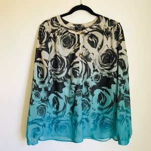 a.n.a Rose Print Sheer Long Sleeve Blouse